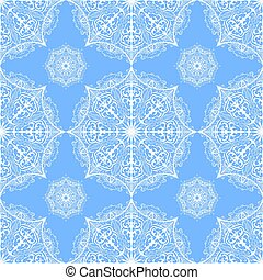 Vector seamless pattern from white snowflakes. Ornate mandala on blue background