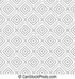 Vector seamless pattern, geometric tiles monochrome background