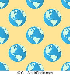 Vector Seamless Pattern Globe earth on yellow background. Flat design Vector Illustration