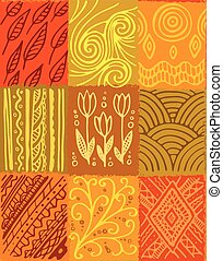 Vector seamless pattern, hand drawn patchwork