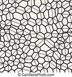 Vector seamless pattern in a grid of polygons with lines