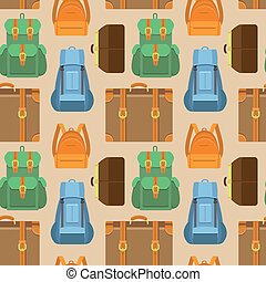 Vector seamless pattern in flat style - travel - Vector...
