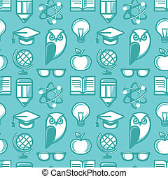 Vector seamless pattern in flat style with education icons...