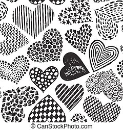 Vector seamless pattern in with hand drawn sketch hearts....
