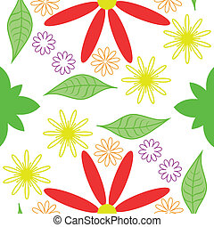 Vector seamless pattern  leaves and flowers