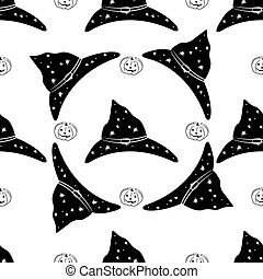 Vector seamless pattern made of witch hats