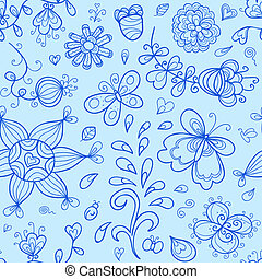Vector seamless pattern. Nature stylized doodle elements