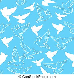 Vector seamless pattern of a flock flying pigeons.