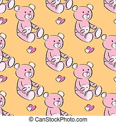vector seamless pattern of a toy teddy bear.