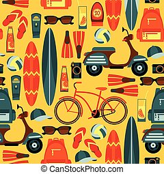 Vector seamless pattern of active summer holidays.