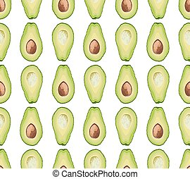 Vector seamless pattern of avocado slice on white background. Avocado cut texture