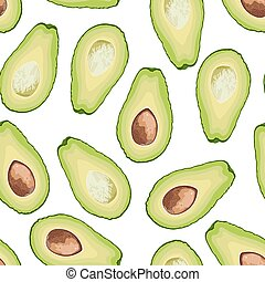 Vector seamless pattern of avocado slice on white background. Avocado fruit cut background