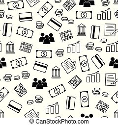 Vector  seamless pattern of banking services. Finance seamless p