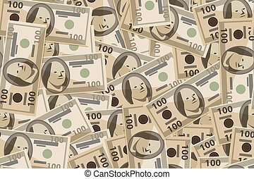 vector seamless pattern of banknotes