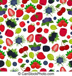 Vector seamless pattern of berries. Strawberry, black currant, bluberry, gooseberry, cherry, acerola