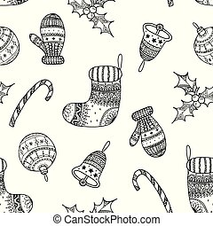 Vector seamless pattern of black Christmas decorative symbol - candy cane, tree ball, mitten, sock, holly, christmas bell on white background. Christmas hand drawing coloring page book