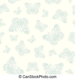 Vector seamless pattern of blue butterfly outline on white background