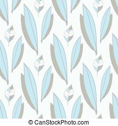vector seamless pattern of blue-gray leaves
