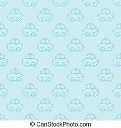 Vector seamless pattern of blue outline cartoon car.