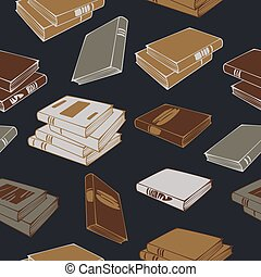Vector seamless pattern of books and stacks of books isolated on a dark background. Concept for book shop.