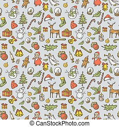 Vector Seamless pattern of Christmas and New Year elements