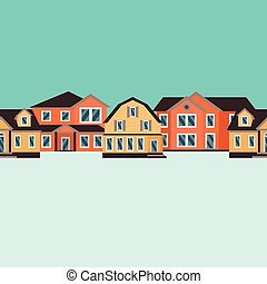 Vector seamless pattern of color houses
