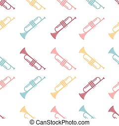 Vector seamless pattern of colored Trumpet on a white background.