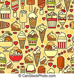Vector seamless pattern of  colorful ice cream icon.
