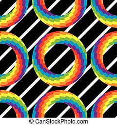 vector seamless pattern of colorful round wheel circles