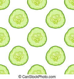 Vector seamless pattern of cucumber slice on white background