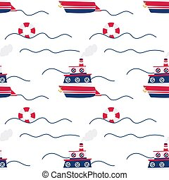 Vector seamless pattern of cute blue ship on white background.