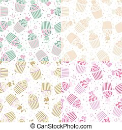 Vector seamless pattern of cute cupcakes