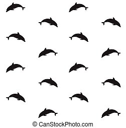 Vector seamless pattern of dolphin silhouette