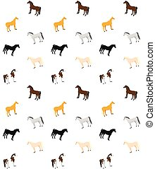 Vector seamless pattern of flat cartoon horses if different colors on white background