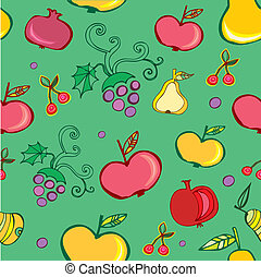 Vector seamless pattern of fruit.