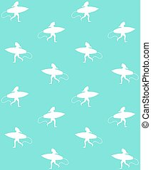 Vector seamless pattern of girl with surf