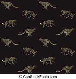 Vector seamless pattern of golden cheetah on black