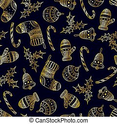 Vector seamless pattern of golden Christmas decorative symbol - candy cane, tree ball, mitten, sock, holly, christmas bell on dark background. Christmas hand drawing background