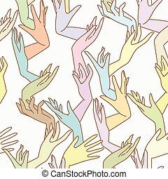 Vector seamless pattern of graceful female hands bound in pastel colors