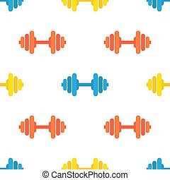 Vector seamless pattern of gym barbells. Sport equipment in bright colors