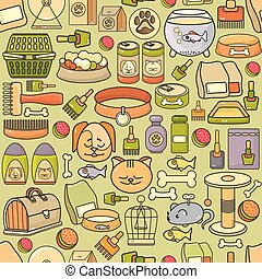 Vector seamless pattern of hand drawn colorful pet icon.