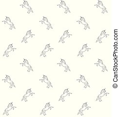 Vector seamless pattern of hand drawn doodle sketch unicorn on white background