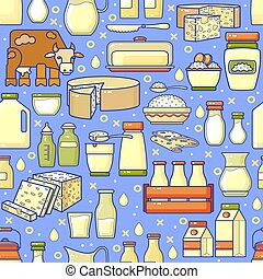 Vector seamless pattern of hand drawn line art dairy.