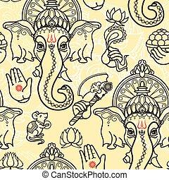 Vector seamless pattern of hand drawn line art Ganesha.