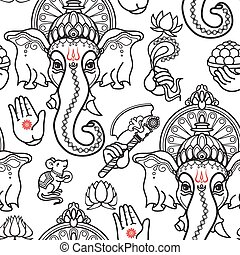 Vector seamless pattern of hand drawn line art Ganesha icon on white background. Ganesh vector illustration.