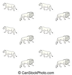 Vector seamless pattern of hand drawn lion