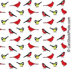 Vector seamless pattern of hand drawn little birds