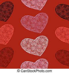 Vector seamless pattern of hearts on a blood-red background