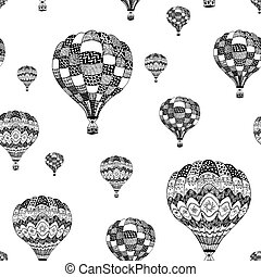 Vector seamless pattern of hot air balloon in zentangle style. Coloring page book anti stress. Black hand drawn hot air balloon on white background