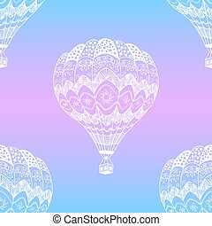 Vector seamless pattern of hot air balloon in zentangle style. White hand drawn hot air balloon on pastel gradient background